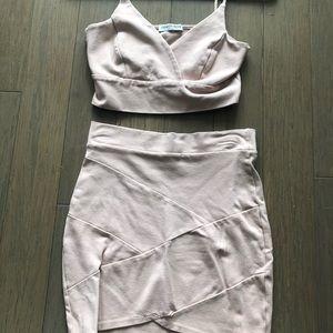 Light pink/cream two piece skirt set